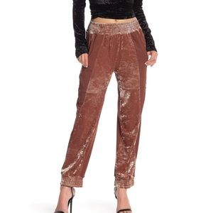 HAH Hot As Hell Pink Crushed Velvet Track Pants